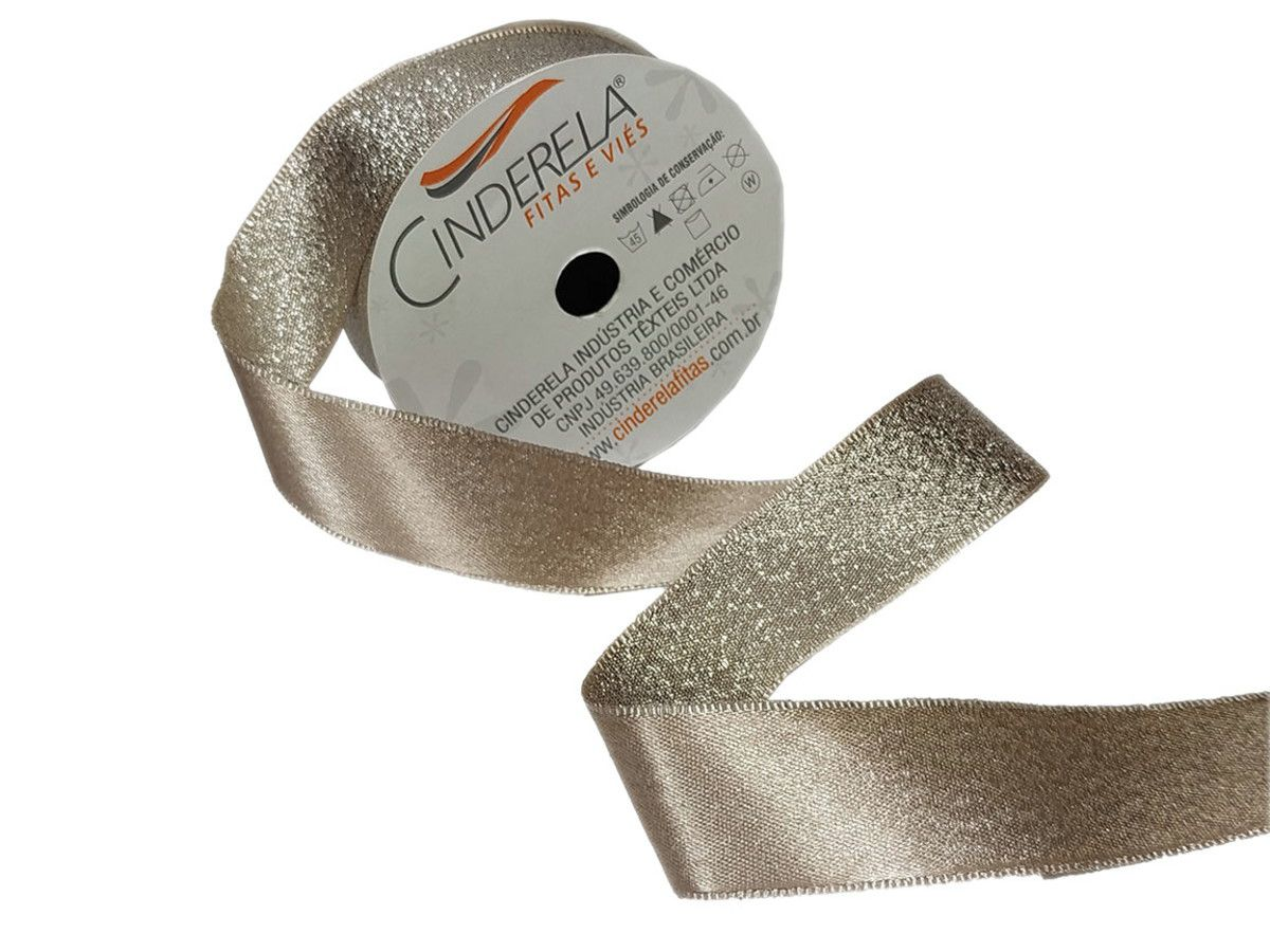 Fita De Cetim Lurex Glitter Cinderela 1 metro