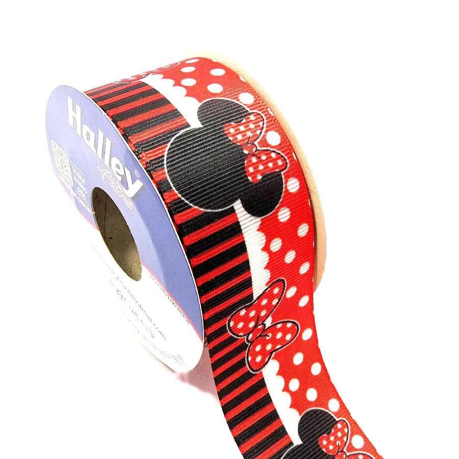 Fita Gorgurão Halley Minnie Vermelha  38mm 1 metro