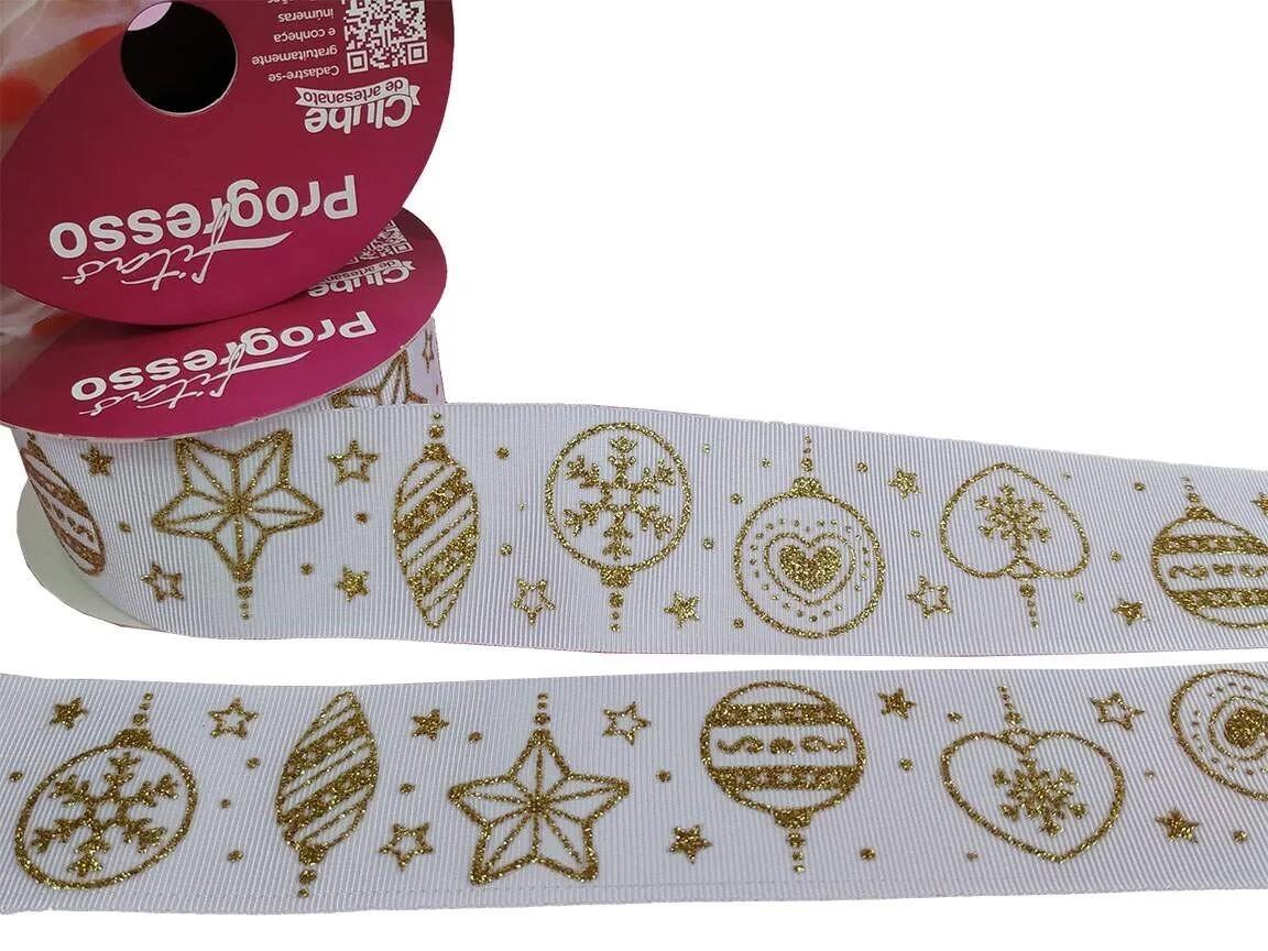 Fita Gorgurão Progresso Branca Gliter Dourado Ano Novo 38mm 1 metro