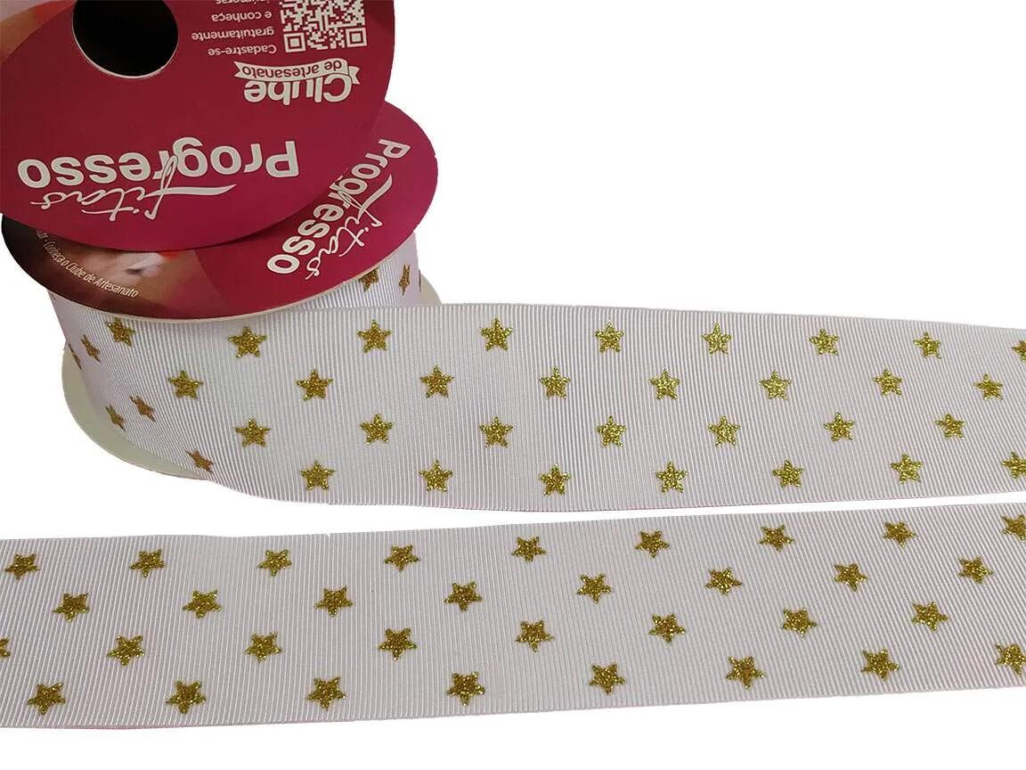 Fita Gorgurão Progresso Branca Gliter Dourado Estrelinha 38mm 1 metro
