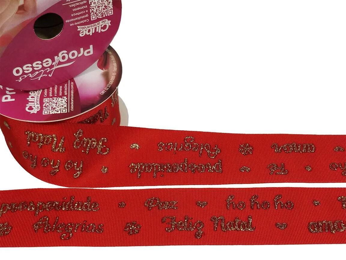 Fita Gorgurão Progresso Natal Vermelha Gliter Dourado  38mm 1 metro