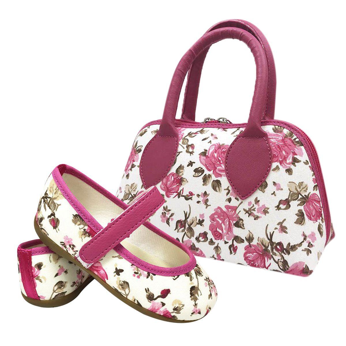 Kit Sapatilha + Bolsa Floral Pink Infantil
