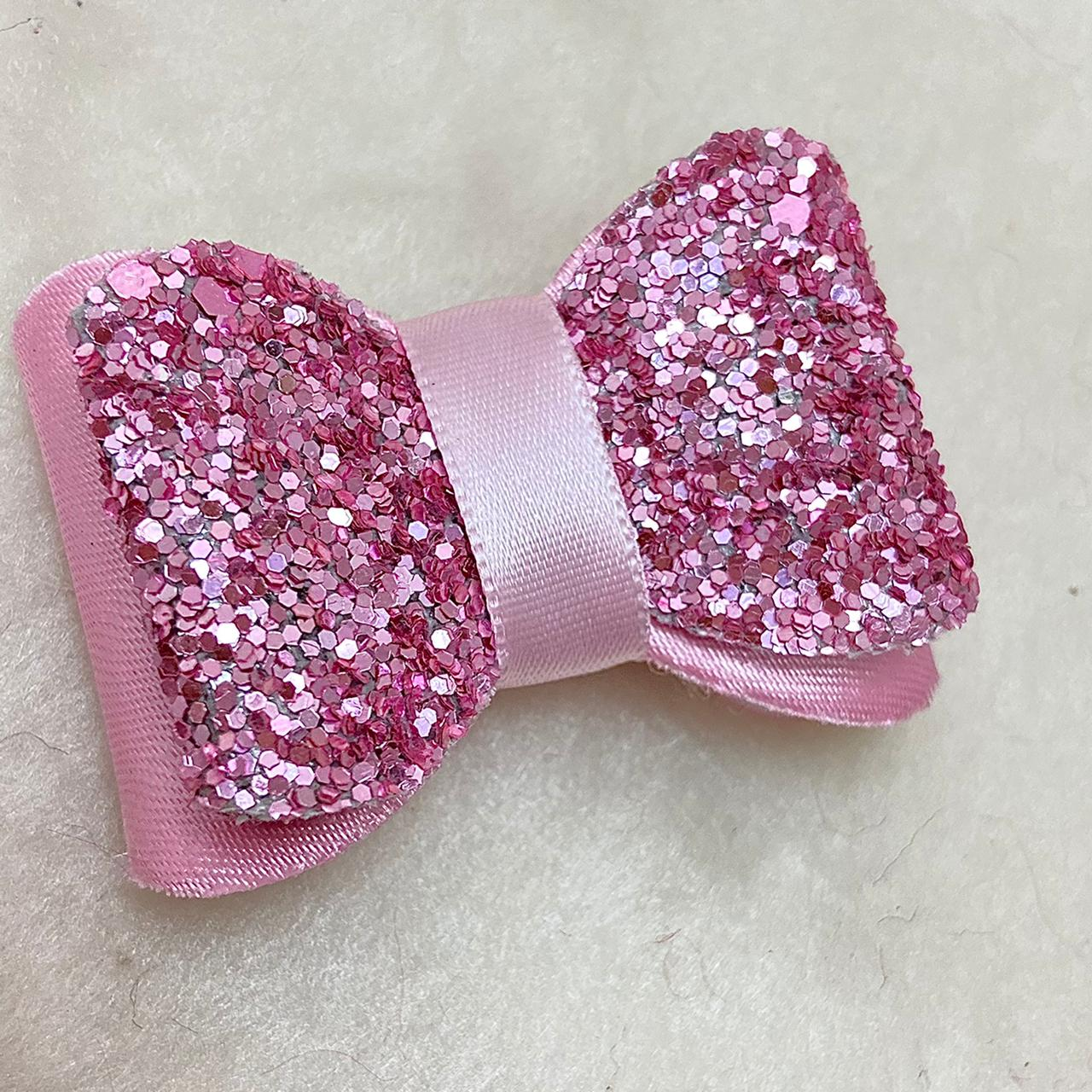 Laço Rosa Glitter Aplique Pronto