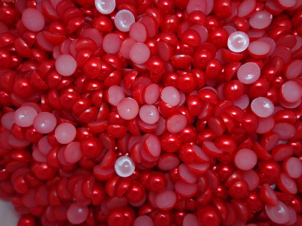 Meia Pérola 6mm Vermelha