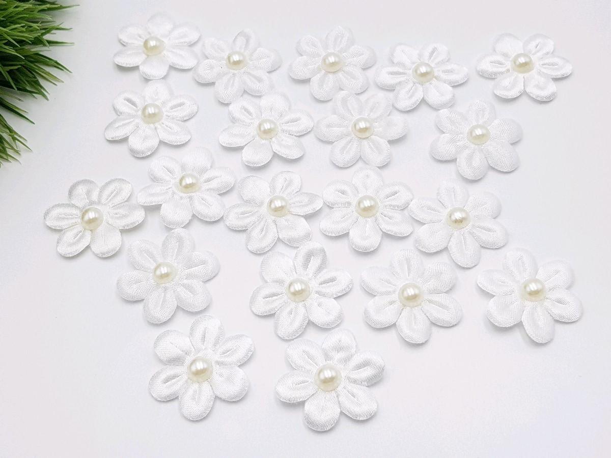 Mini Flor Tecido Cetim Com Pérola Cor Branca