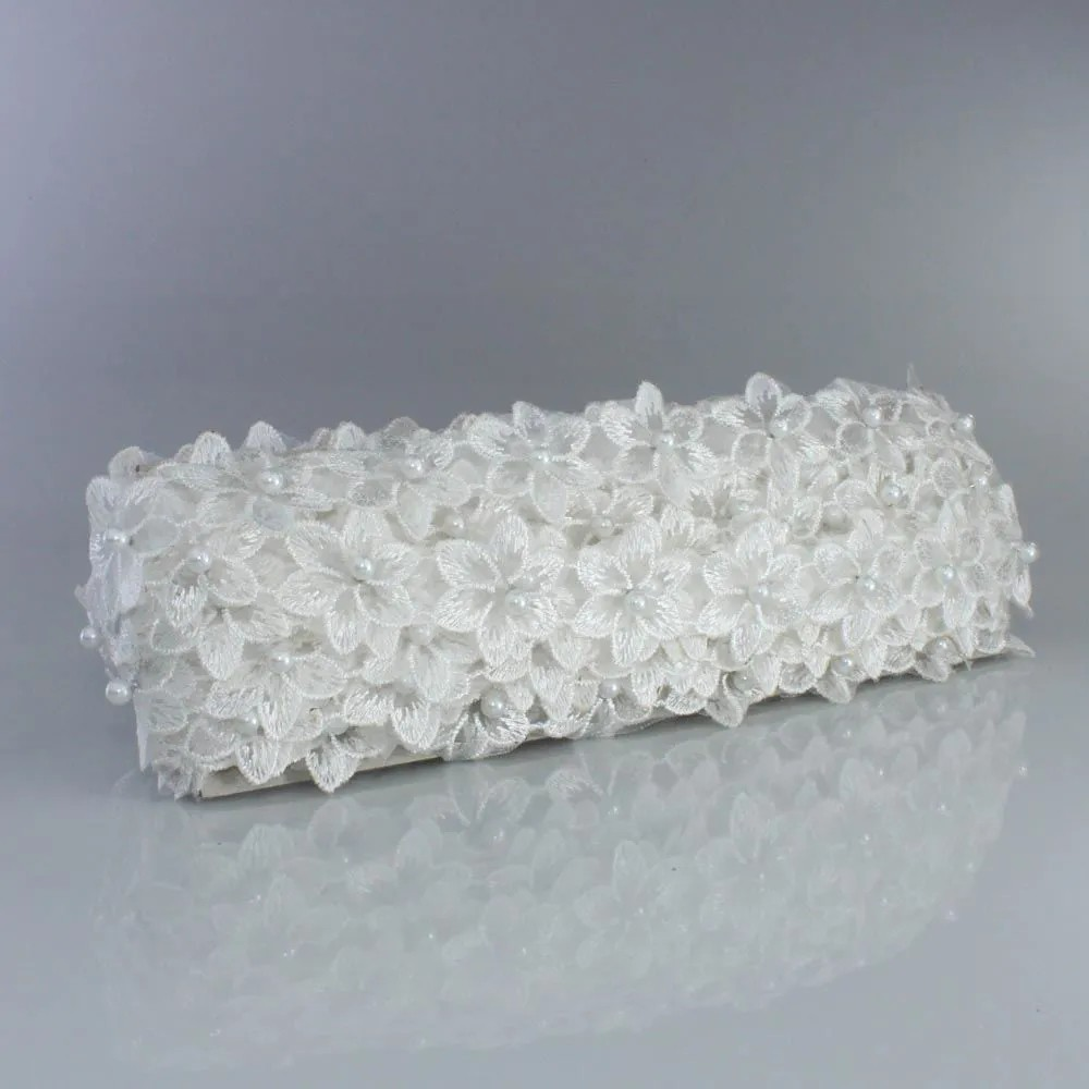Renda Guipir Com Pérolas Branca 45mm 1 metro