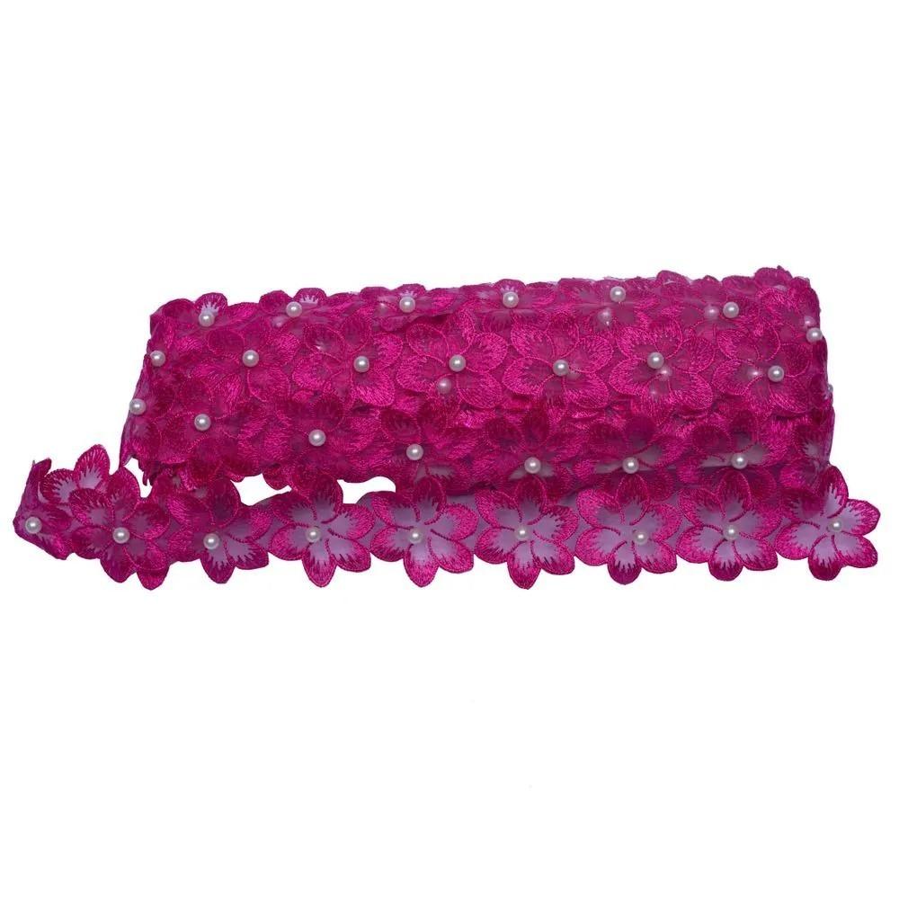 Renda Guipir Com Pérolas Pink 45mm 1 metro