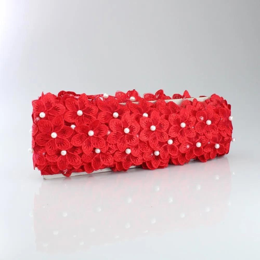 Renda Guipir Com Pérolas Vermelho 45mm 1 metro