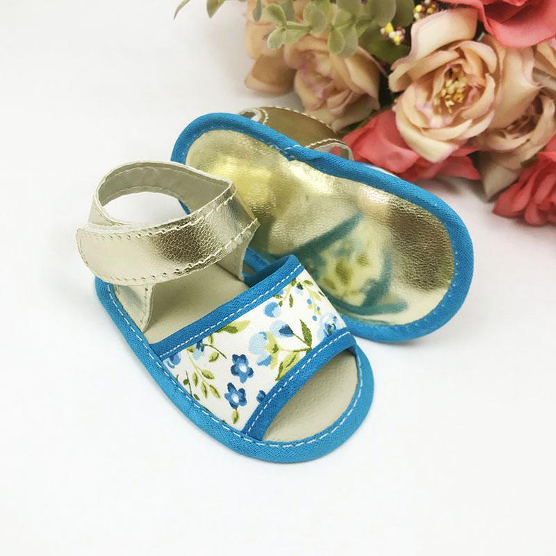 Sandália Floral Azul Tecido