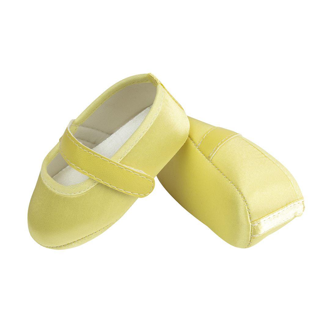 Sapatilha Amarelo Bebê de Cetim com Fecho em  Velcro