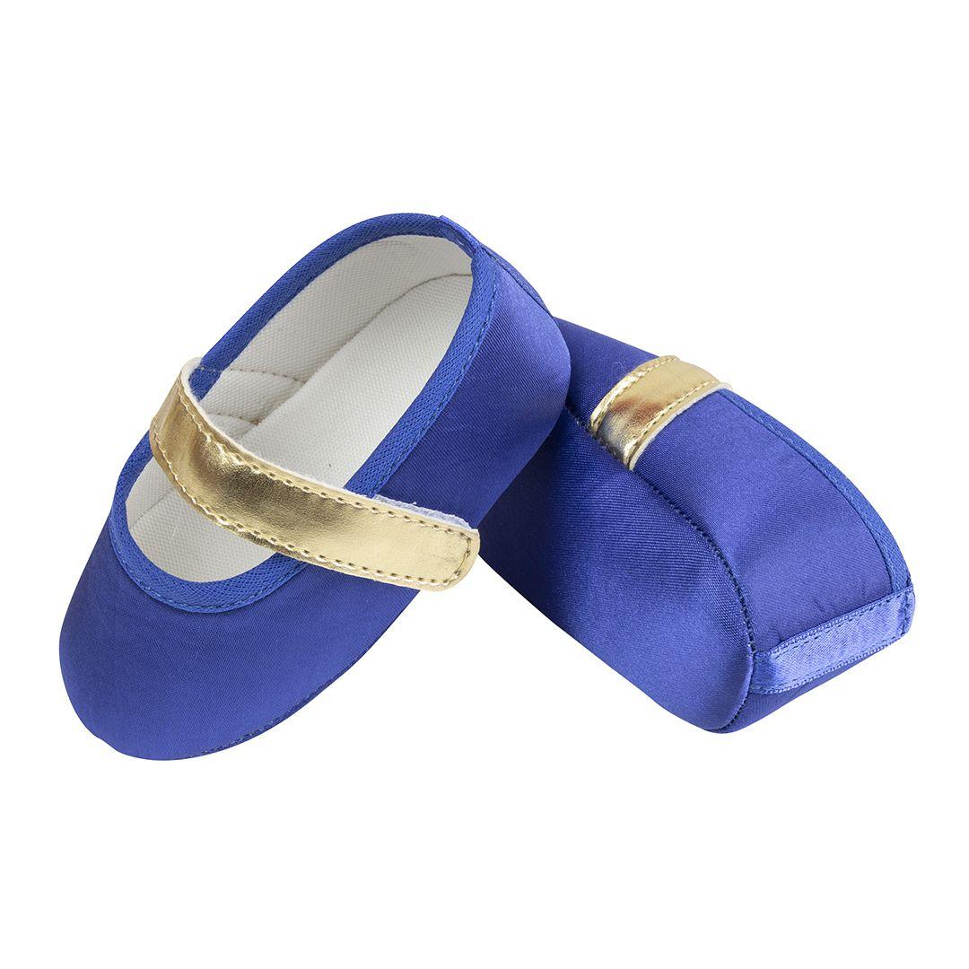 Sapatilha Azul Bic de Cetim com Fecho em  Velcro