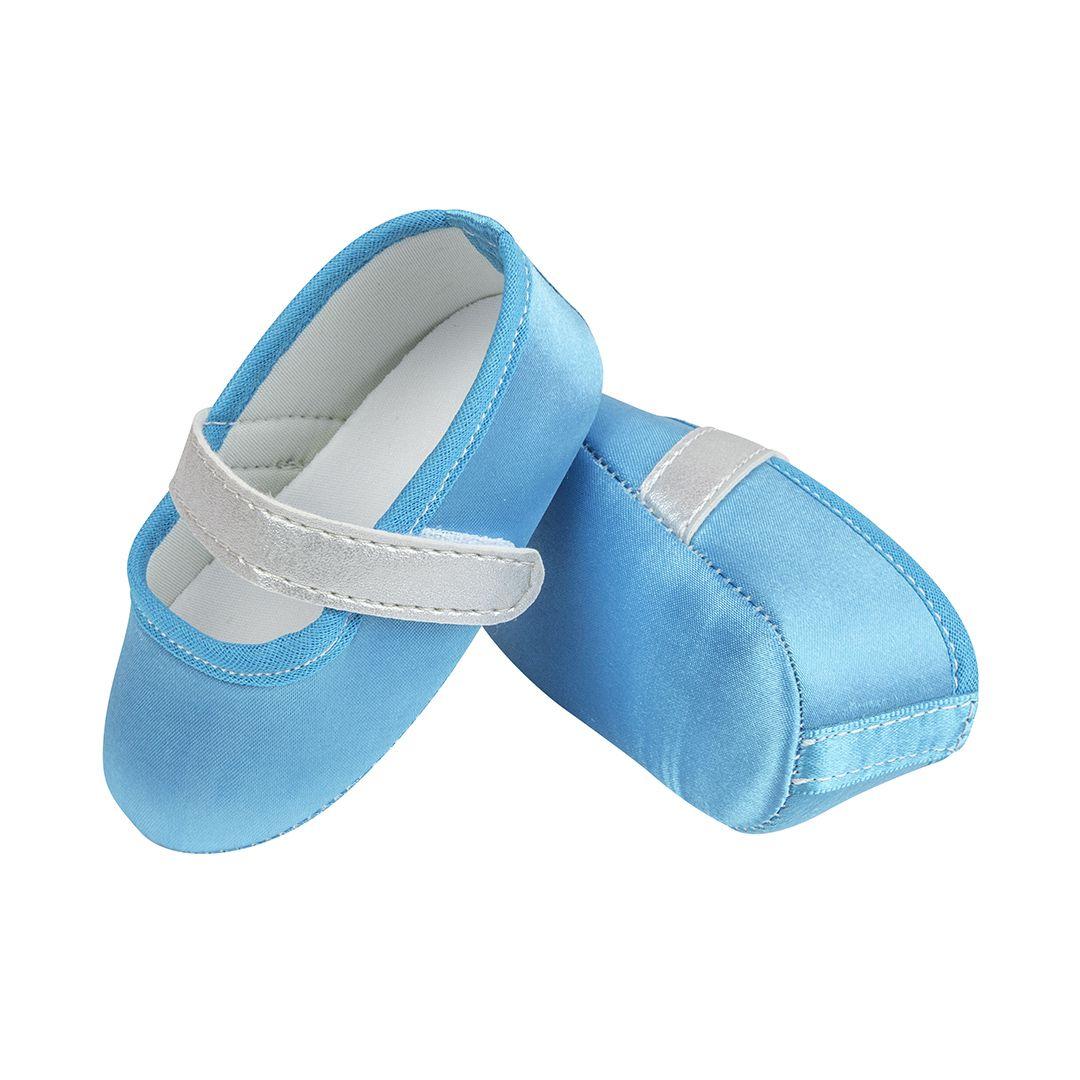 Sapatilha Azul Frozen de Cetim com Fecho em  Velcro