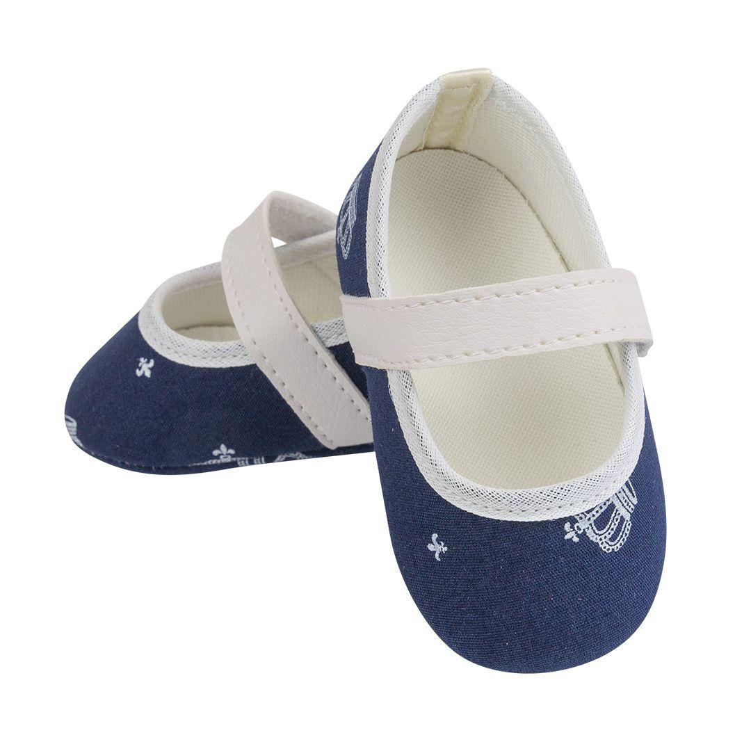 Sapatilha Coleção Ester Azul Marinho com Coroa Branca com Fecho em  Velcro