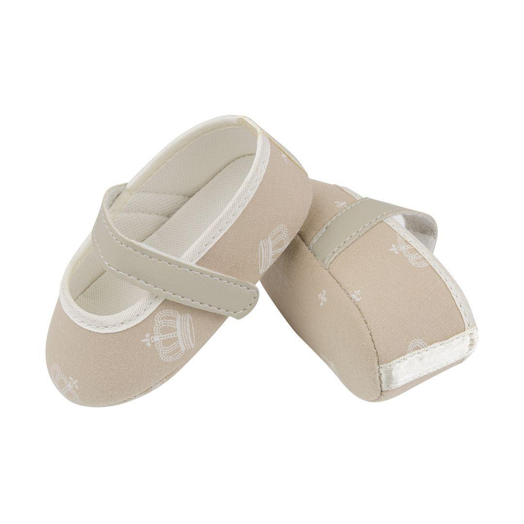 Sapatilha Coleção Ester Caramelo Coroa Off White com Fecho em  Velcro