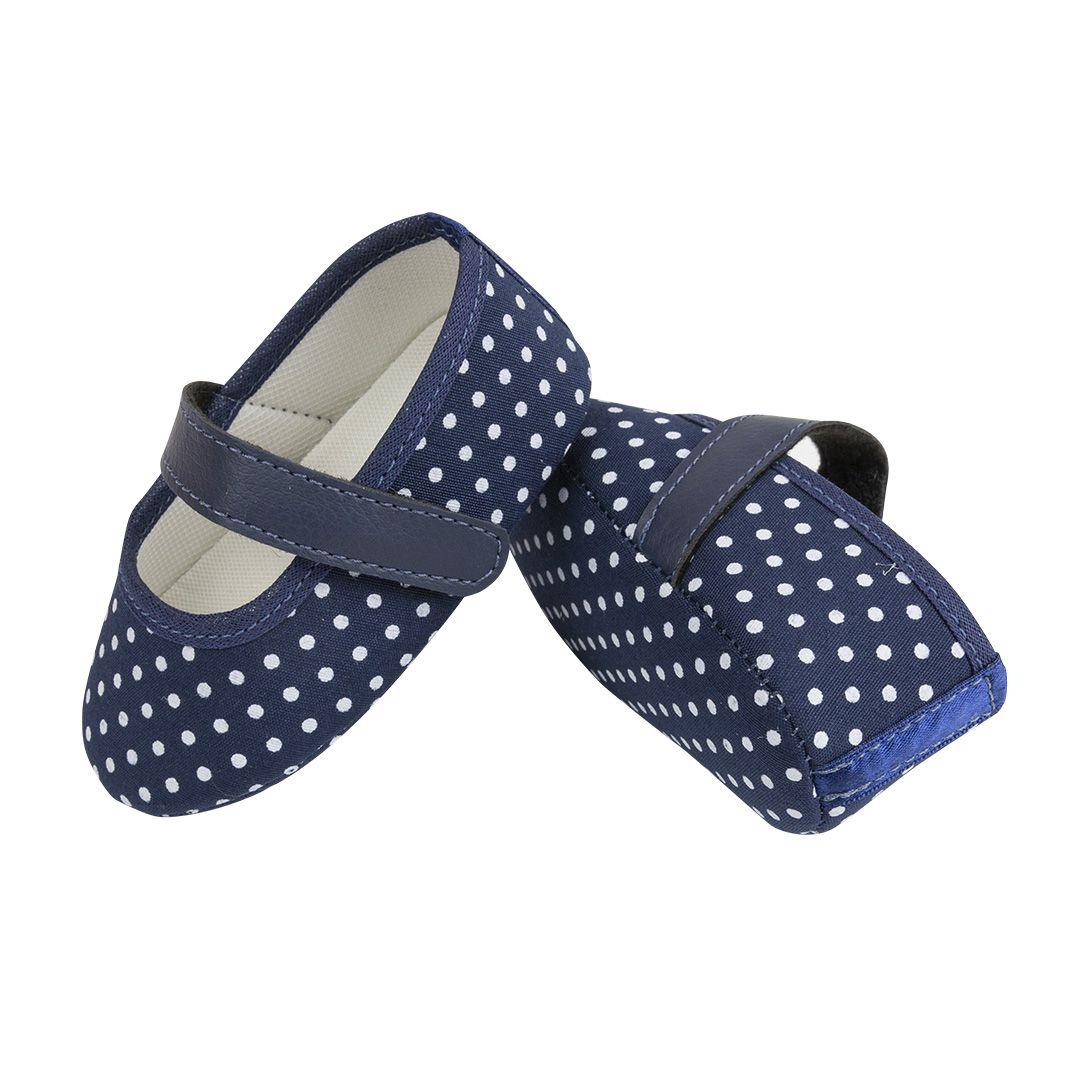 Sapatilha Coleção Ester Poá Azul Marinho com Fecho em  Velcro