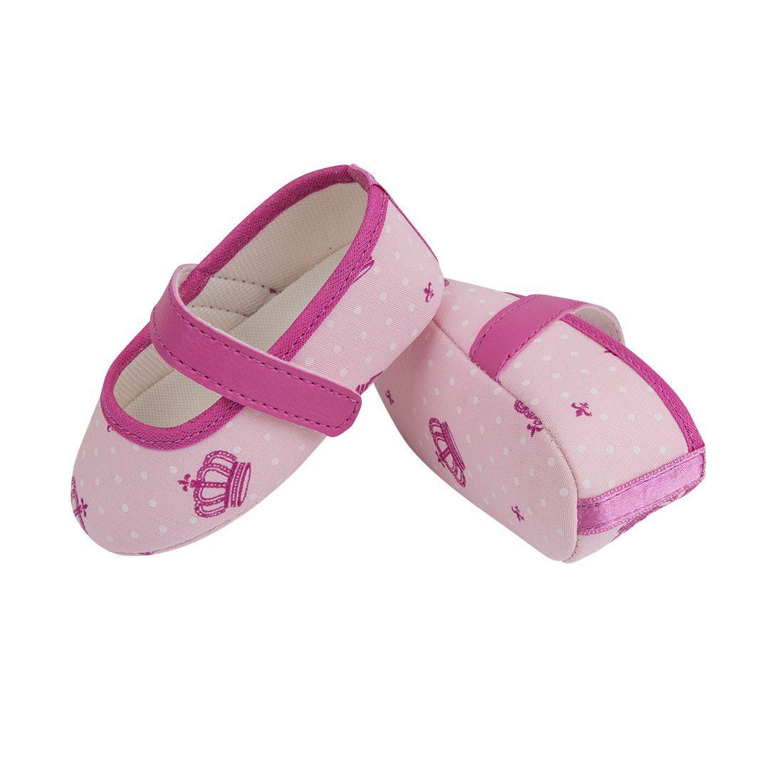 Sapatilha Coleção Ester Rosa Com Coroa Pink e Fecho em  Velcro