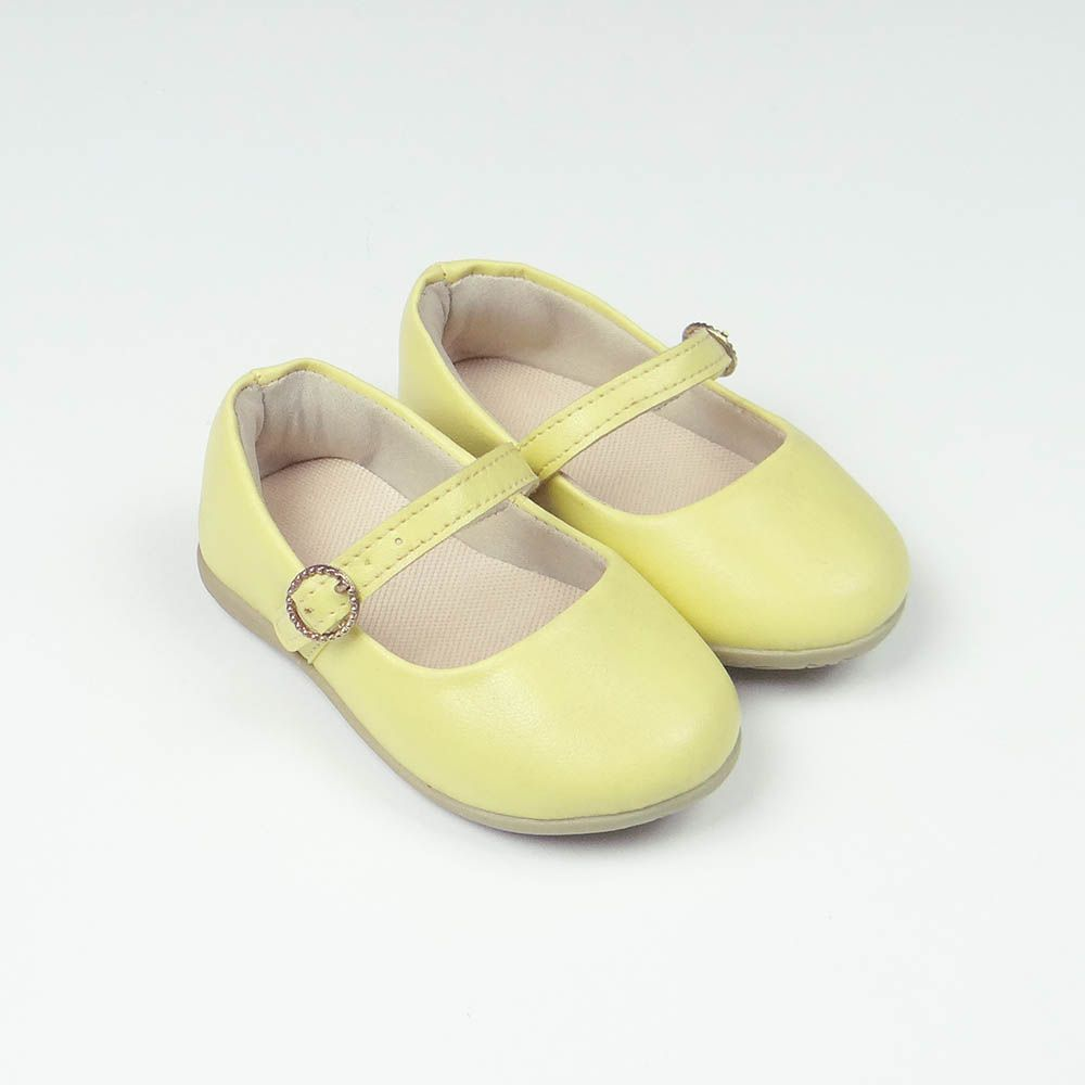 Sapatilha Couro Sintético Amarela com Solado de Borracha