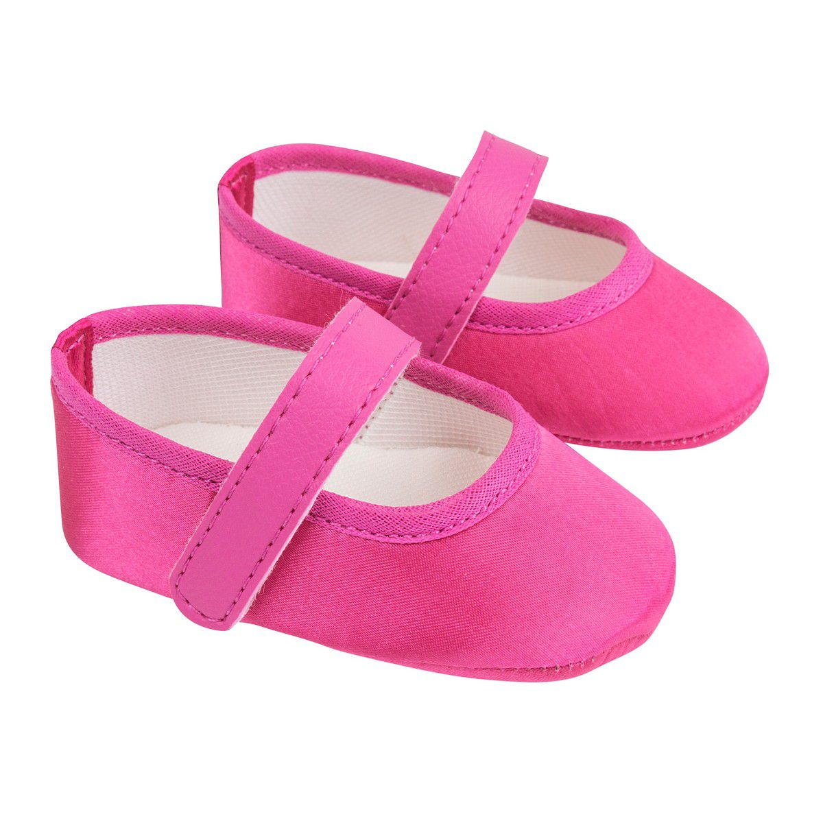 Sapatilha Pink de Cetim com Fecho em  Velcro
