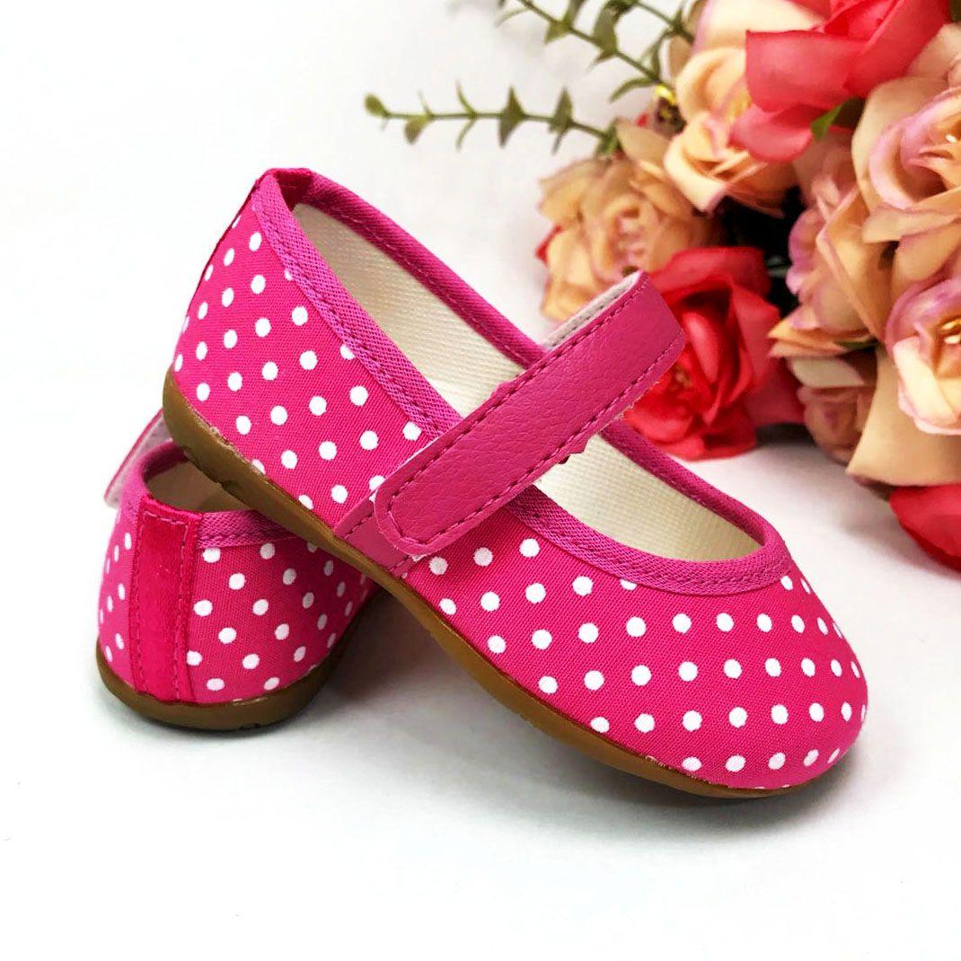 Sapatilha Poá Pink em Algodão com Solado de Borracha
