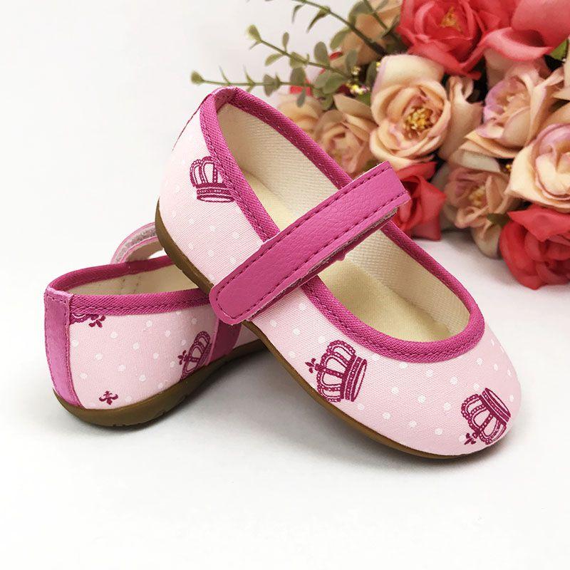 Sapatilha Rosa Estampa com Coro Pink em Algodão e Solado de Borracha