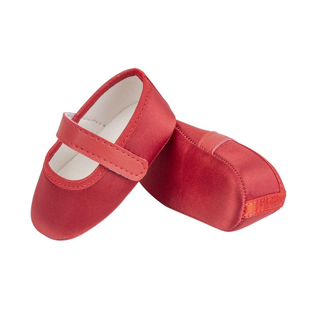 Sapatilha Vermelha de Cetim com Fecho em  Velcro