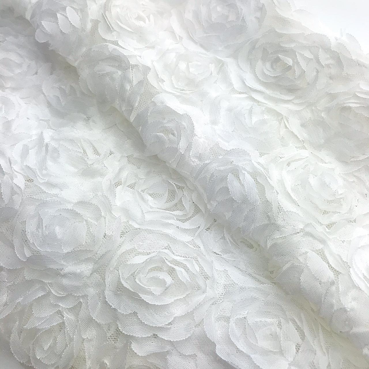 Tecido Rendado Alto Relevo Floral 1,2m x50cm