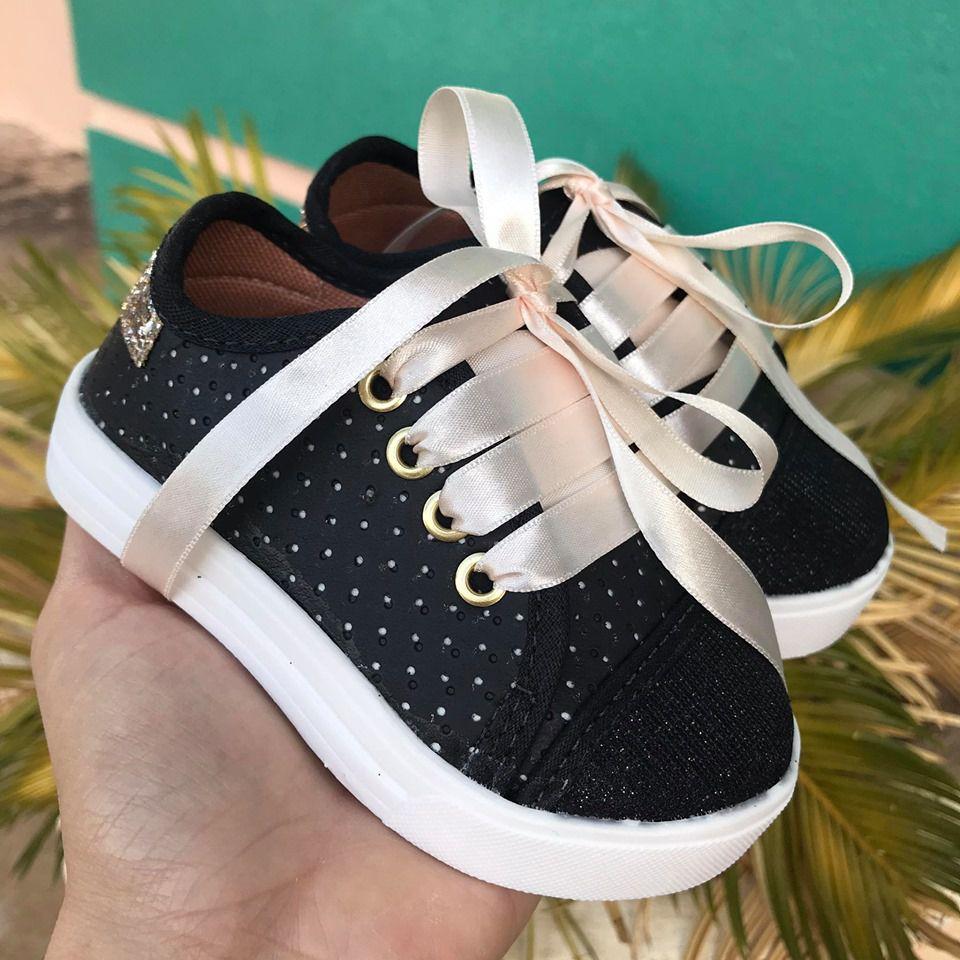 Tênis Streetwear Preto/ Ouro Light