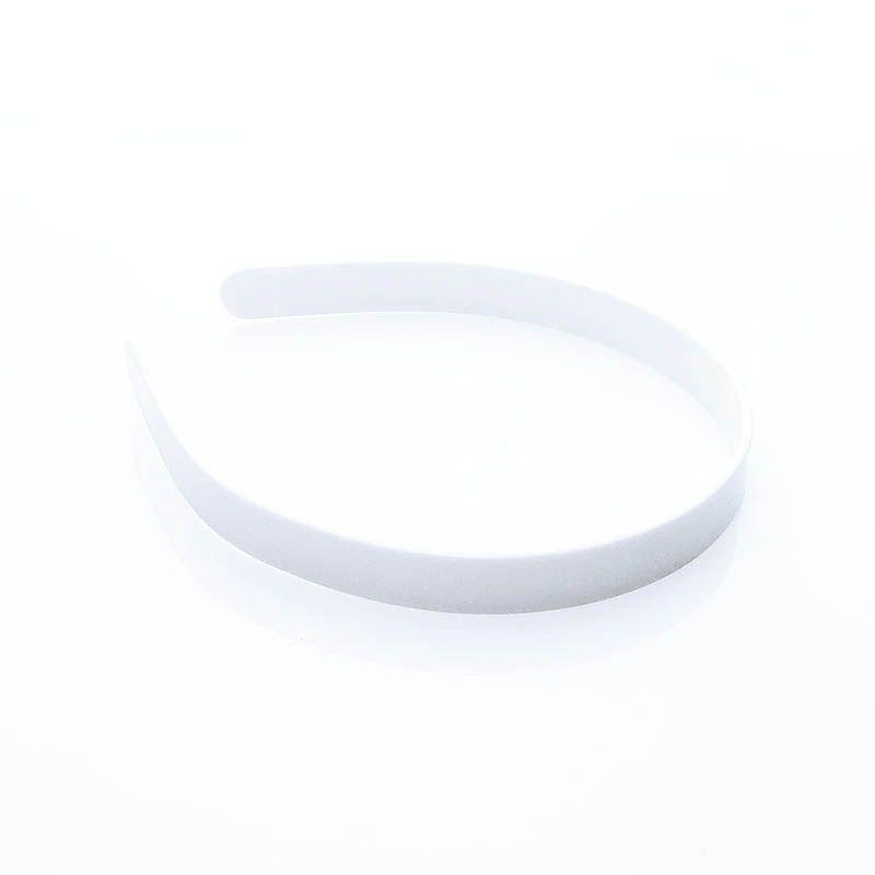Tiara Grossa Plástico Lisa Branca 14mm