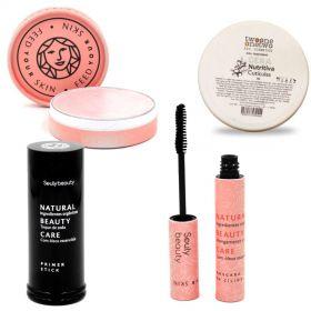 Kit Natural Dia dos Namorados Maquiagem Iluminador Stars + Máscara Cílios + Primer + Cera Unhas