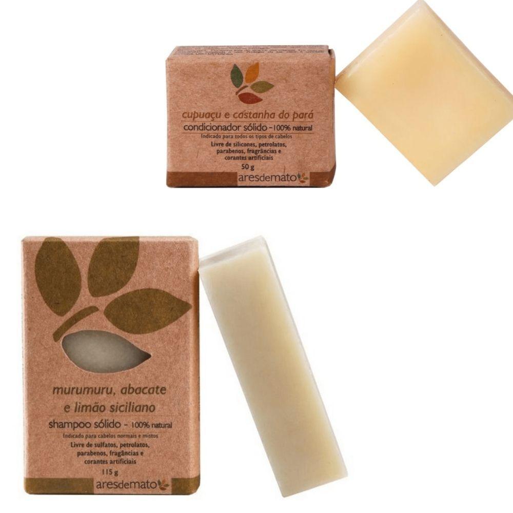 Ares de Mato Kit Natural Cabelos Normais e Mistos Shampoo e Condicionador Sólido
