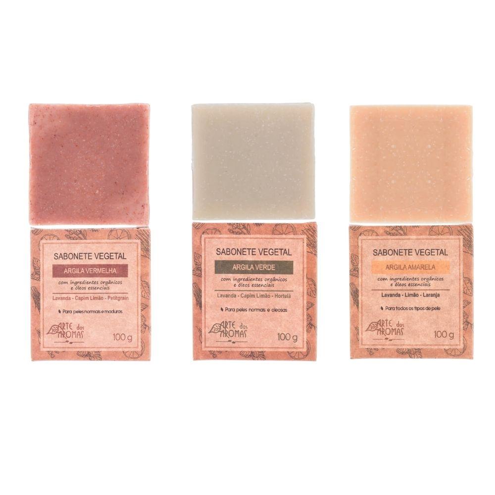 Arte dos Aromas Kit 3 Sabonetes Argila Amarela, Vermelha e Verde 3un