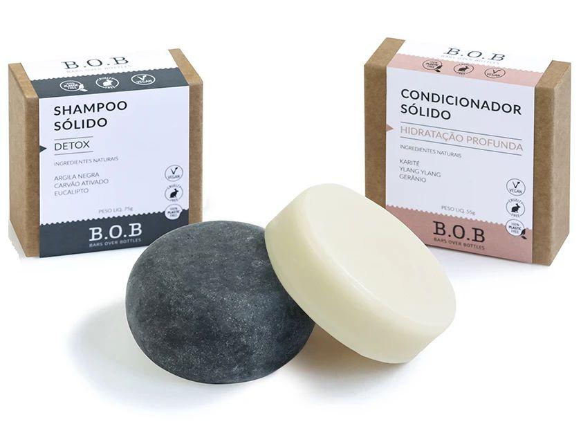 BOB Kit Shampoo Sólido Detox + Condicionador Sólido Hidratação Profunda