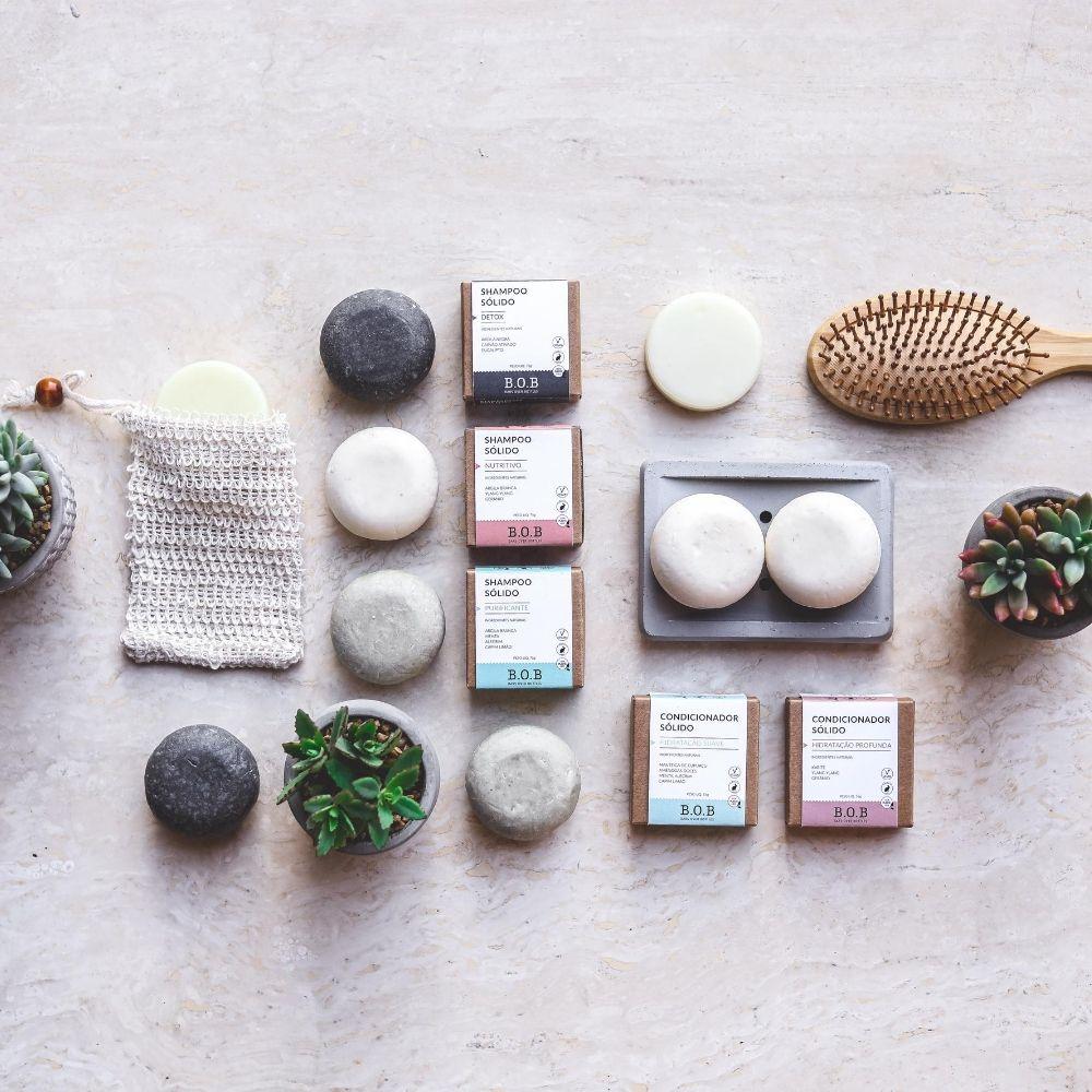 BOB Kit Shampoo Sólido Purificante + Condicionador Sólido Hidratação Suave