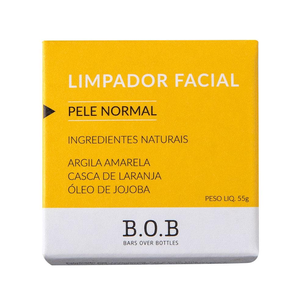 BOB Limpador Facial Sólido Para Pele Normal Em Barra com Argila Amarela, Laranja e Jojoba 55g
