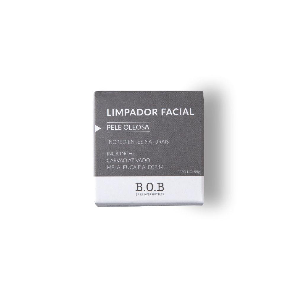 BOB Limpador Facial Sólido Para Pele Oleosa Em Barra com Melaleuca, Alecrim e Carvão Ativado 55g