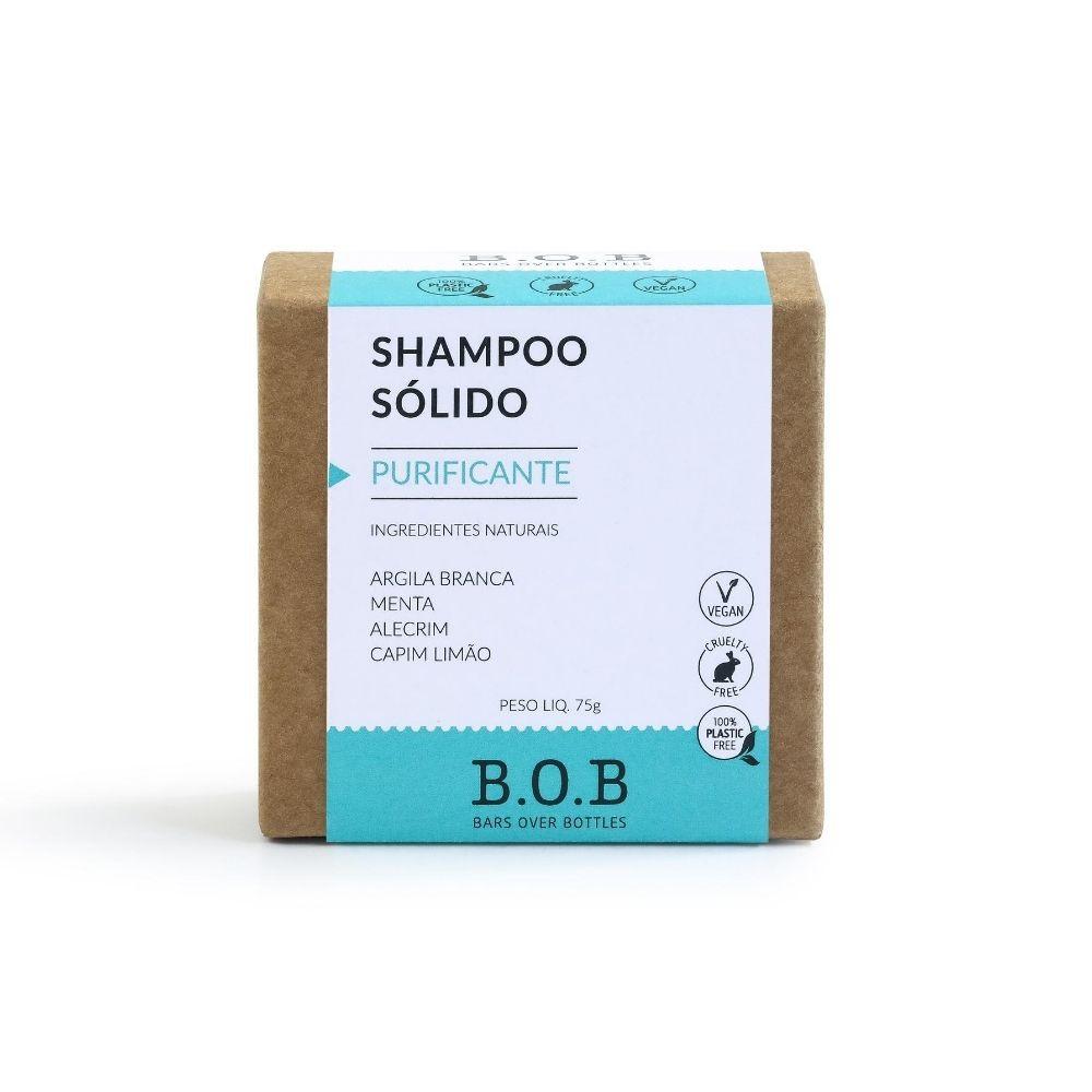 BOB Shampoo Sólido Purificante Em Barra com Argila Verde, Menta e Alecrim 75g