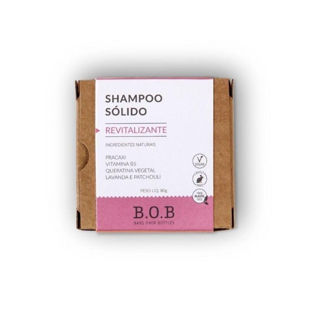 BOB Shampoo Sólido Revitalizante Em Barra com Queratina, Pracaxi e Lavanda 75g