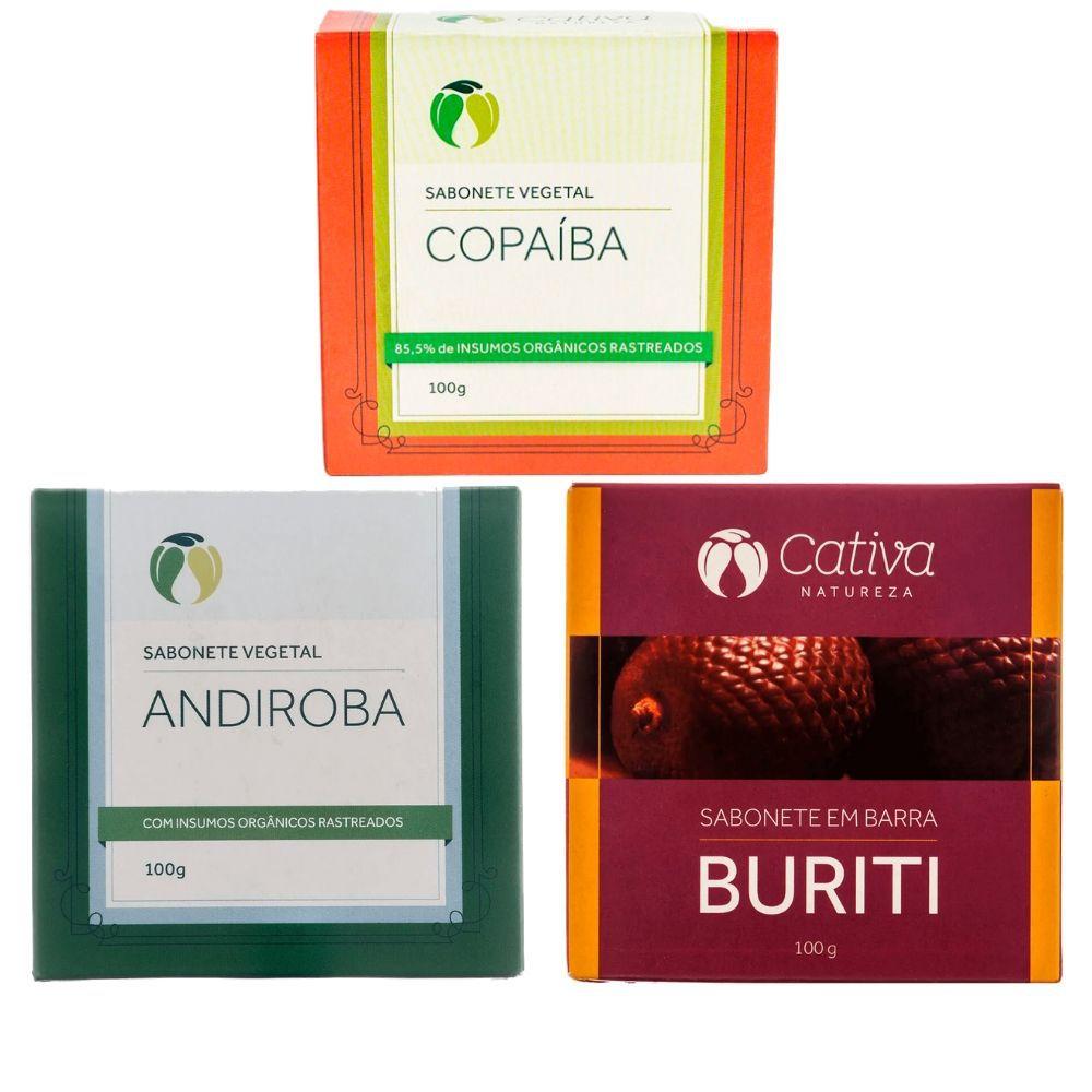Cativa Natureza Kit Sabonete Natural Copaíba + Andiroba + Buriti