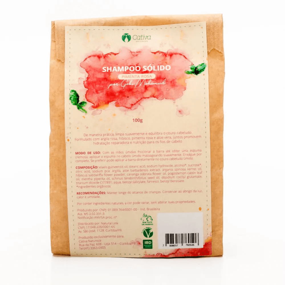 Cativa Natureza Shampoo Sólido de Pimenta Rosa 100g