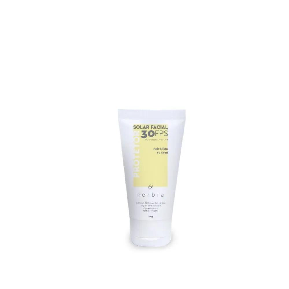 Herbia Protetor Solar Facial Natural FPS 30 para Peles Secas 50g