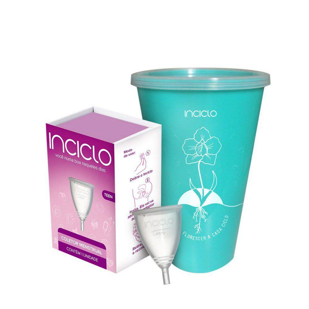 Kit Inciclo Coletor Menstrual Modelo Teen + Copo Esterilizador