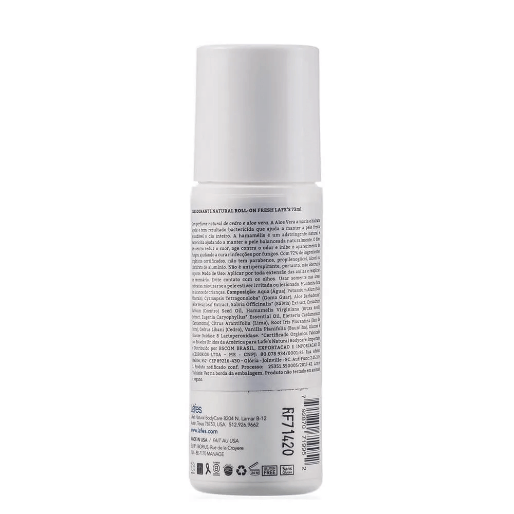 Lafe's Desodorante Roll-on Natural Fresh Cedro e Aloe Vera 88ml