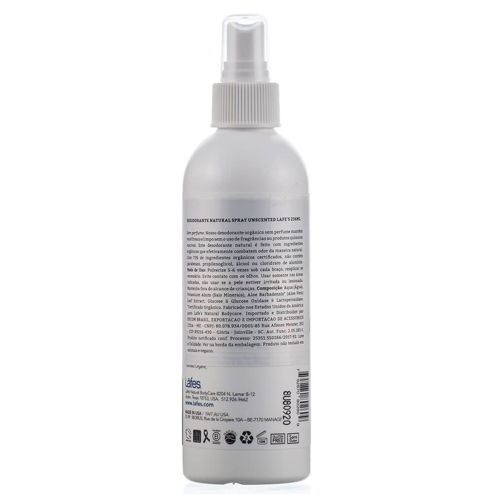 Lafe's Desodorante Sem Perfume Aloe Vera em Spray Unscented 236ml