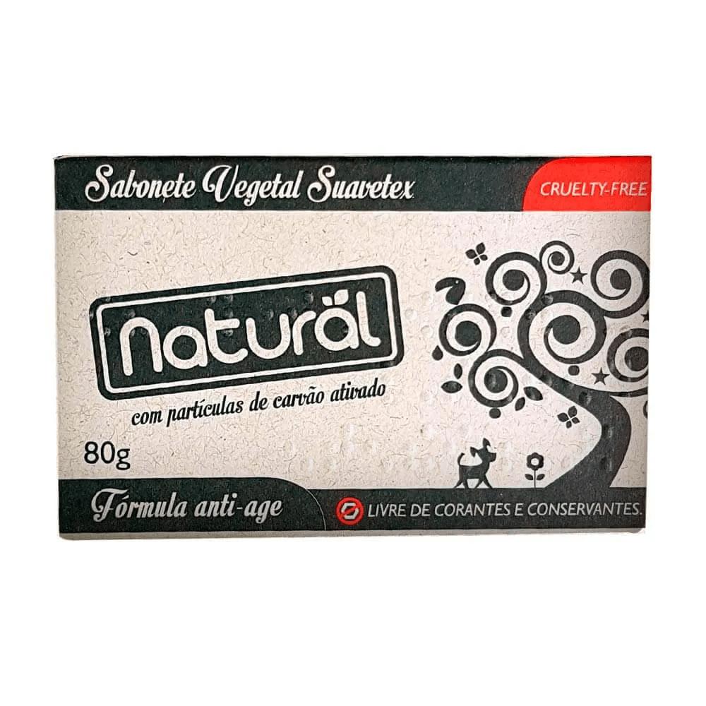 Orgânico Natural Sabonete Vegetal Natural Suavetex com Carvão Ativado 80g