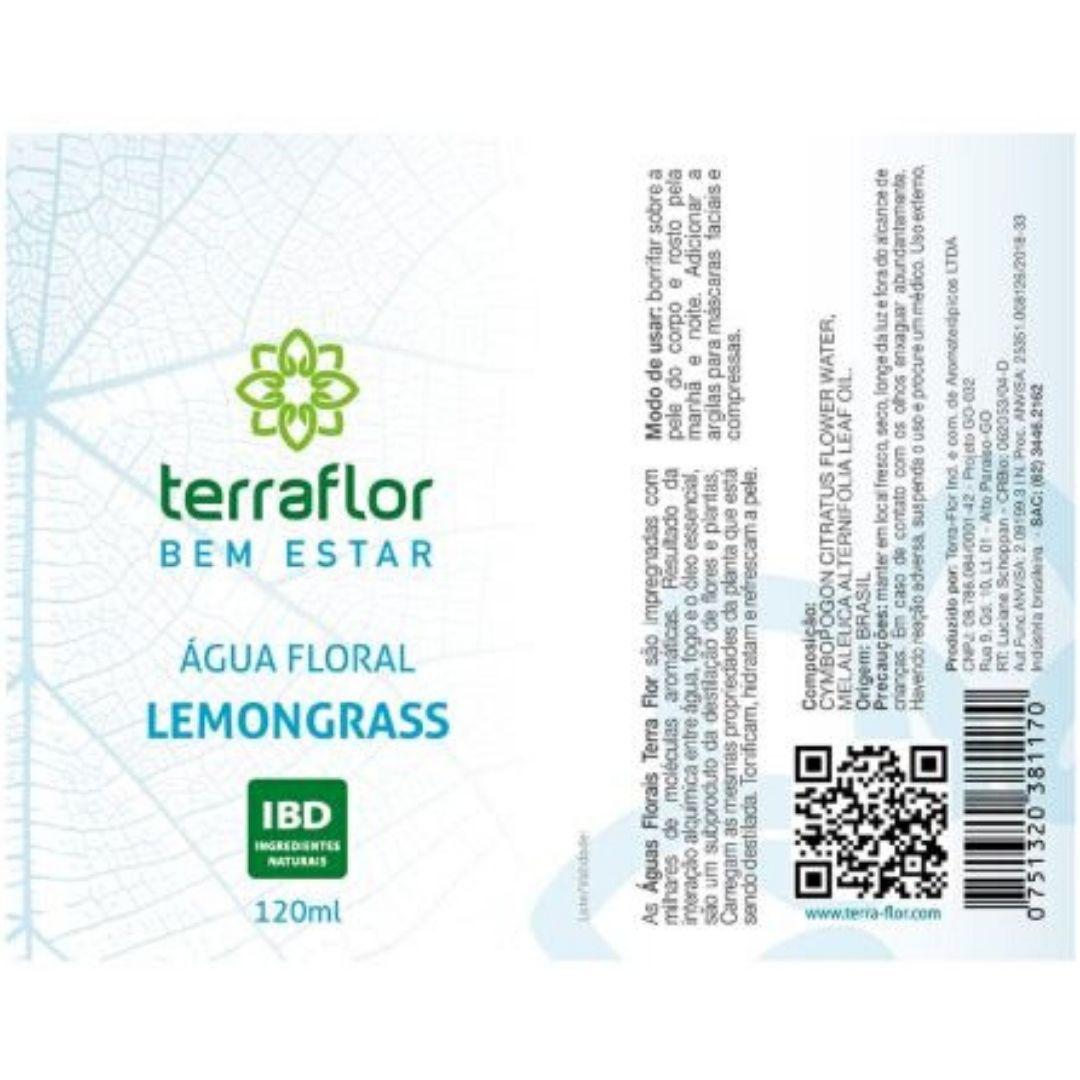 """Terra Flor Água Floral de Lemongrass """"Capim - Limão"""" Natural 120ml"""