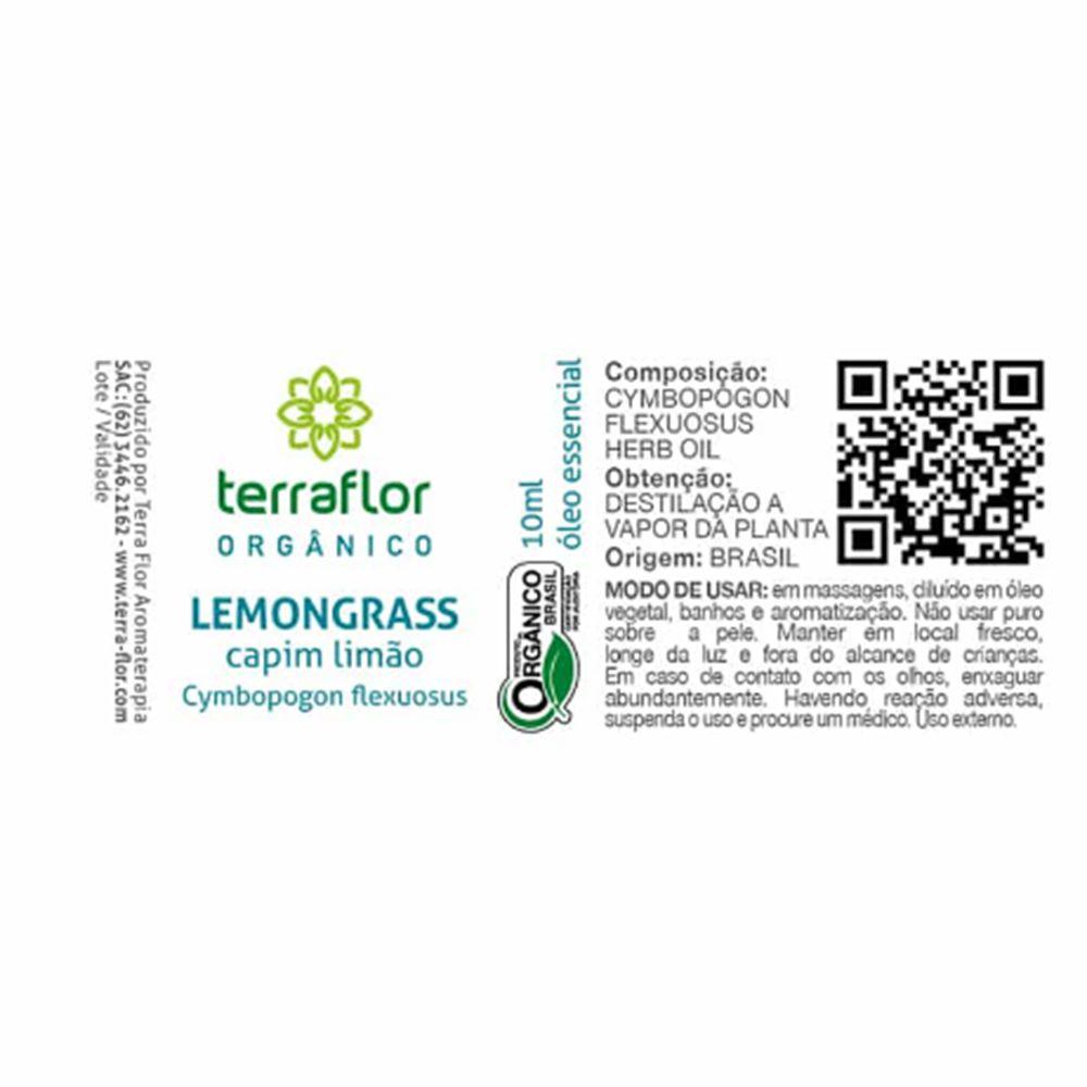 Terra Flor Óleo Essencial de Lemongrass Capim Limão Orgânico 10ml