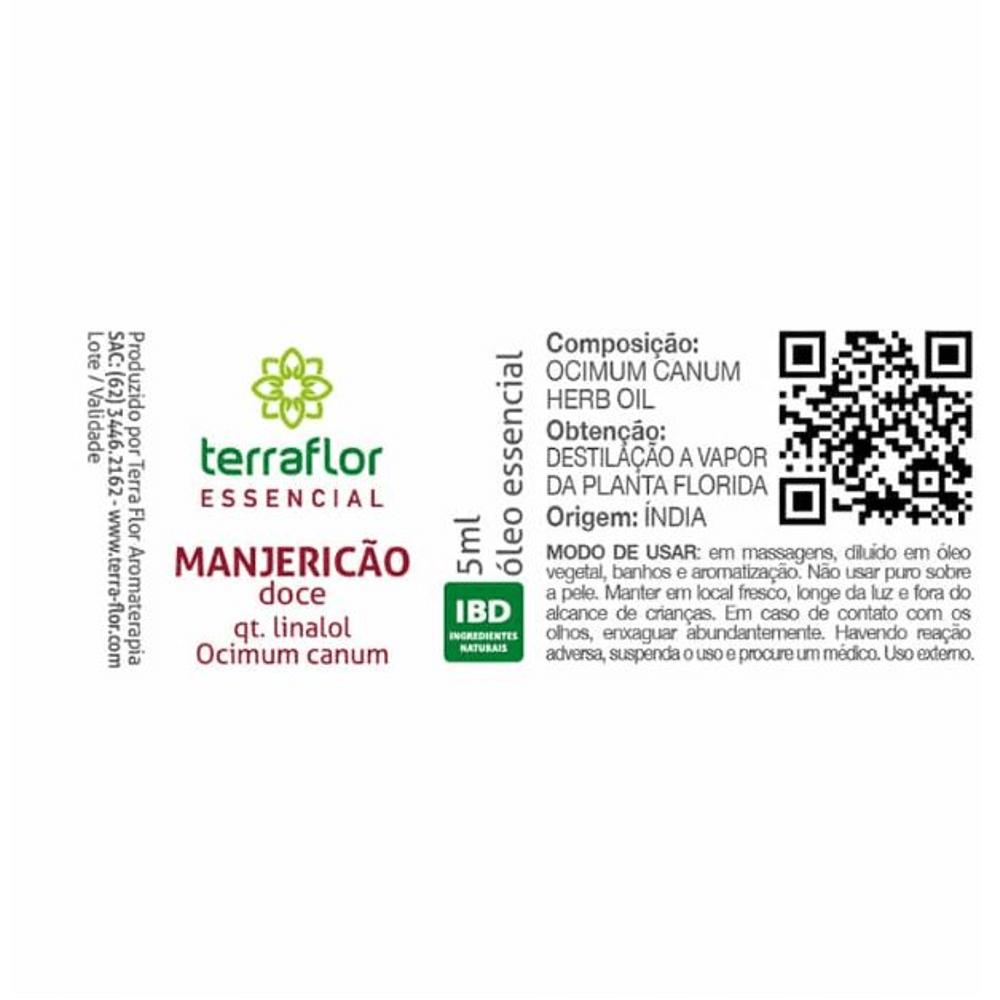 Terra Flor Óleo Essencial de Manjericão Doce qt Linalol 5ml