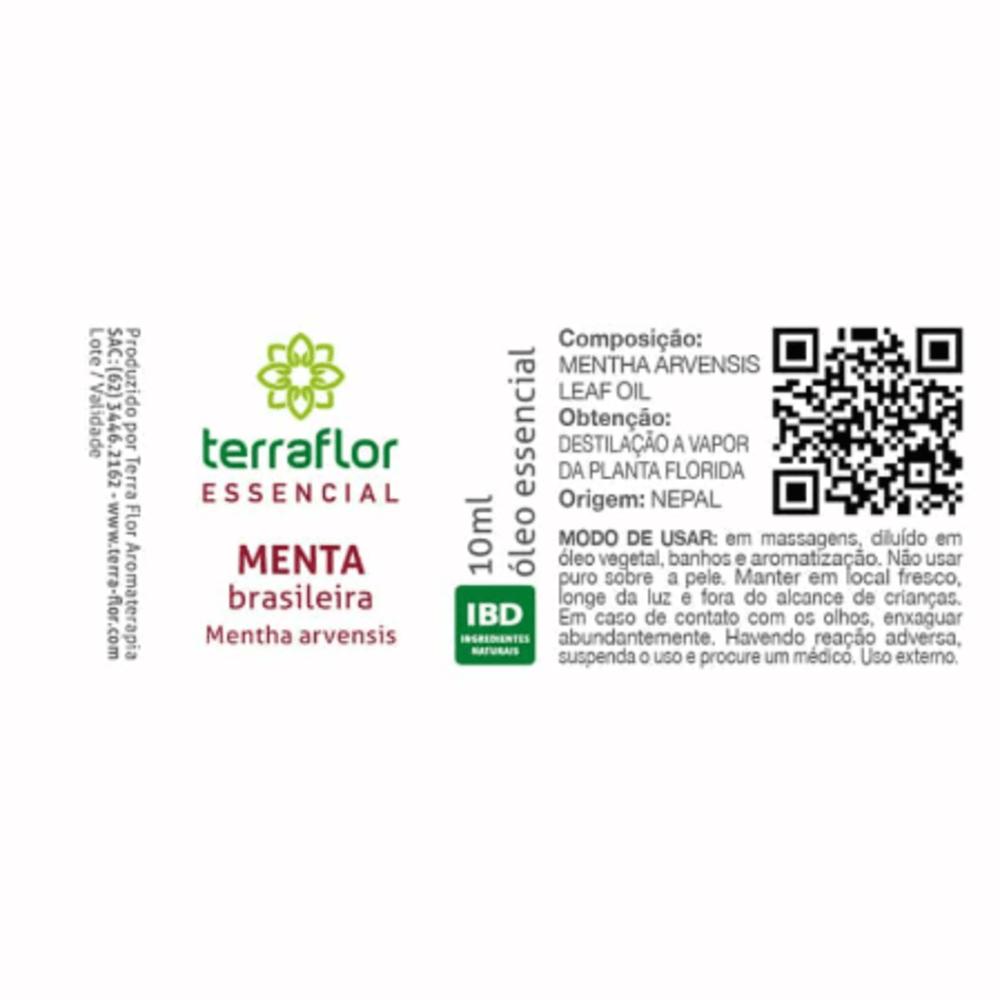 Terra Flor Óleo Essencial de Menta Brasileira Mentha Arvensis 10ml