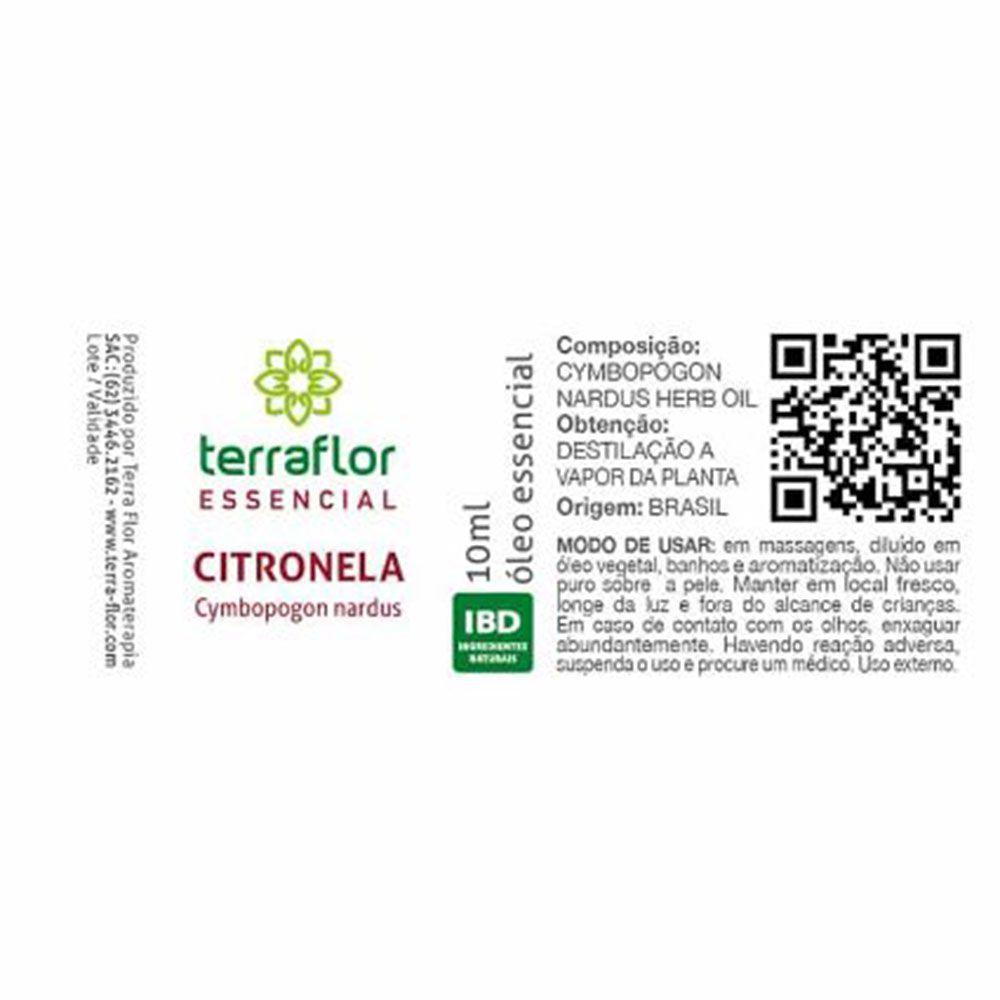 Terra Flor Óleo Essencial Natural de Citronela 10ml