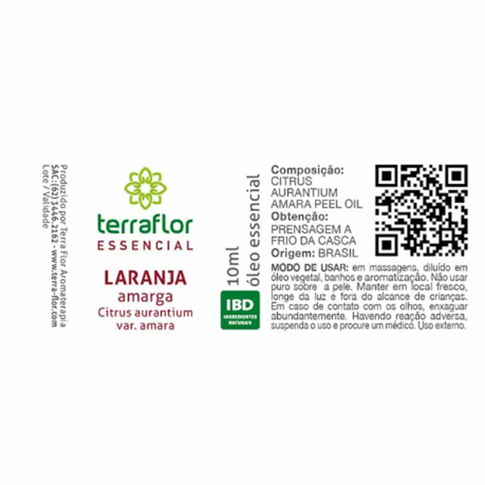 Terra Flor Óleo Essencial Natural de Laranja Amarga 10ml